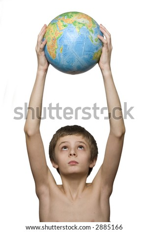 boy holding the globe - stock photo