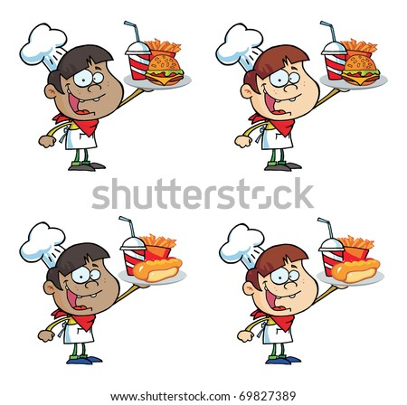 Boy Holding Up A Cheeseburger,Fries And Drink Collection