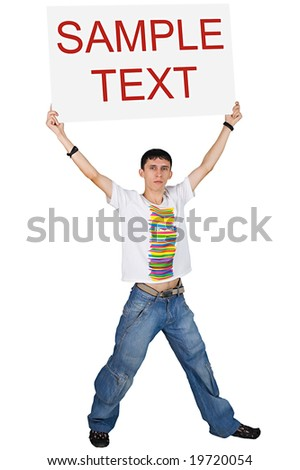 Boy holding white board with text above his head, isolated on the white background - stock photo