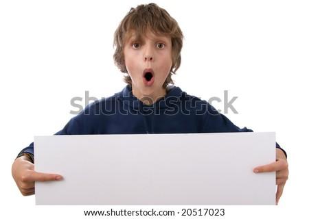 Boy holding white sign - stock photo