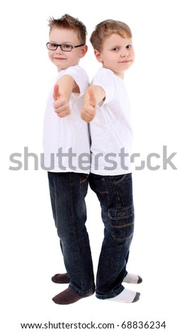 boy holds his hands outstretched, finger - stock photo