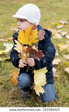 boy holds yellow leaves in autumn day