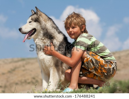 Boy hugging a fluffy dog. Husky dog breed - stock photo