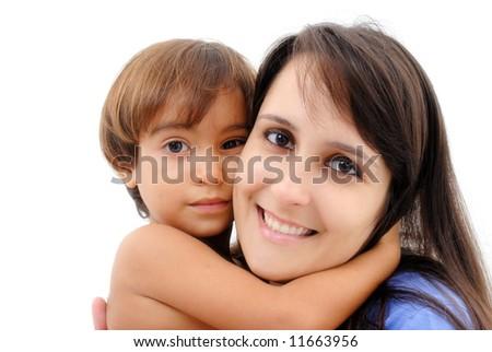 Boy hugging a woman on white . - stock photo