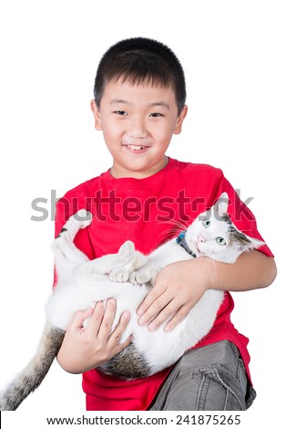boy hugging with his cute cat isolated on white background - stock photo