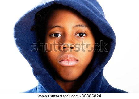 boy in a blue hoodie - stock photo