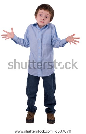 Boy in a blue shirt and jeans, shrugging isolated on a white background - stock photo
