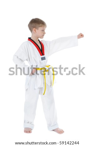 Boy in a kimono. Isolated on white background