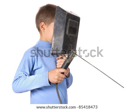 Boy in a mask with electric welding. Isolated on white background - stock photo