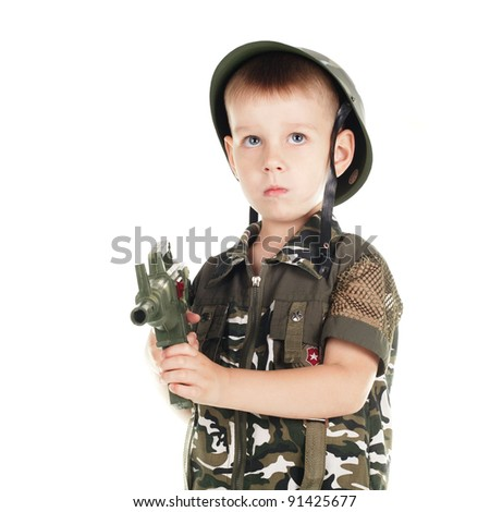 boy in a military clothing - stock photo