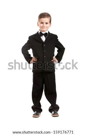 Boy in a suit isolated on white background - stock photo