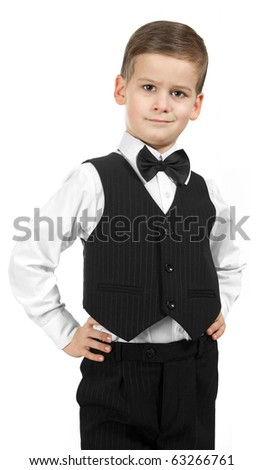 Boy in a suit isolated on white background