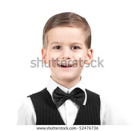 Boy in a suit singing. Shot in studio - stock photo