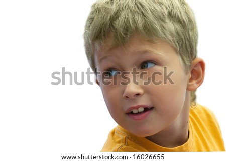 boy in a yellow T-short on the isolated background