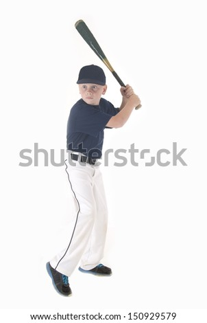 boy in batting stance looking for pitch - stock photo