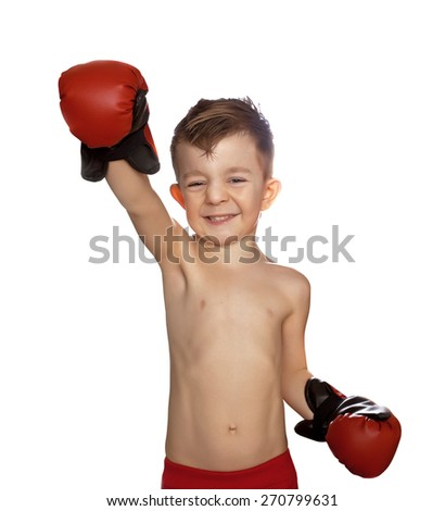 boy in boxing gloves isolated on white - stock photo