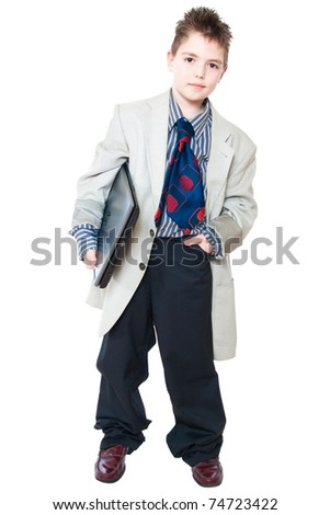 boy in business clothes with a laptop - stock photo