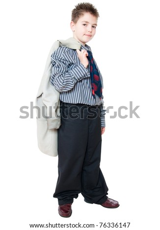 boy in business suit isolated on white - stock photo