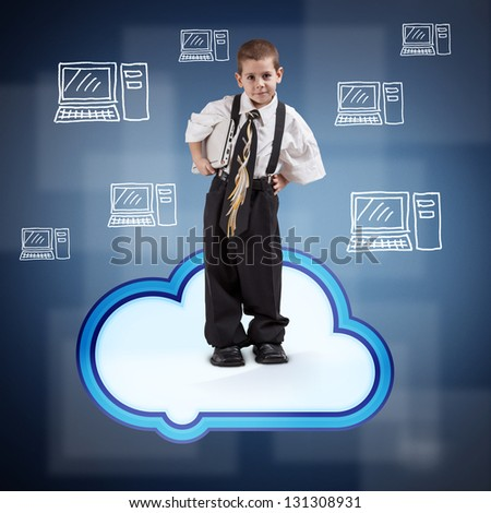 Boy in business suit on cloud - stock photo