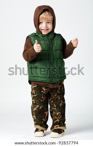 boy in camouflage - stock photo