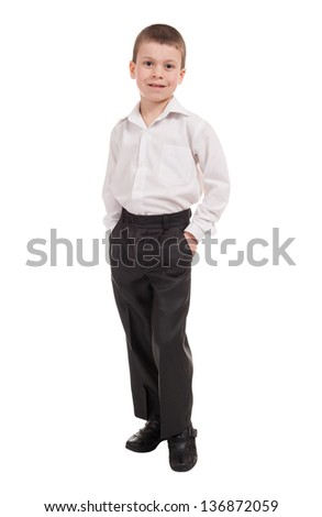 boy in classic dress on white