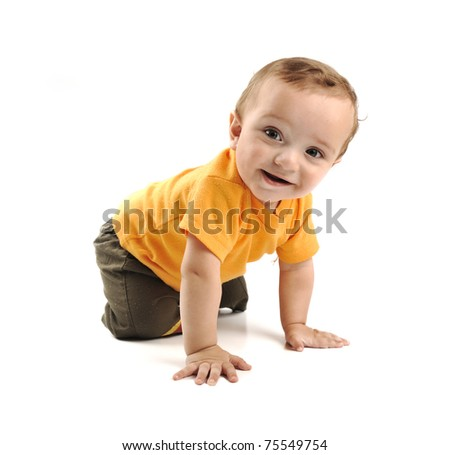boy in diaper - stock photo