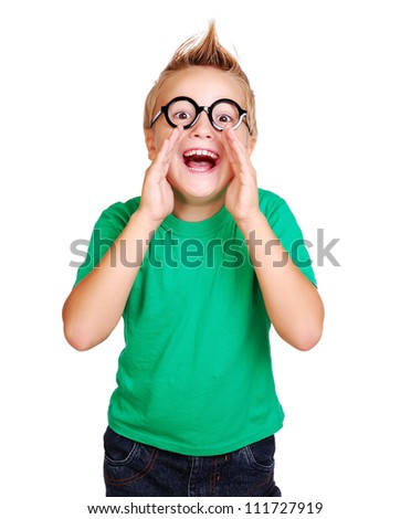 Boy in green shirt screaming out shout - stock photo