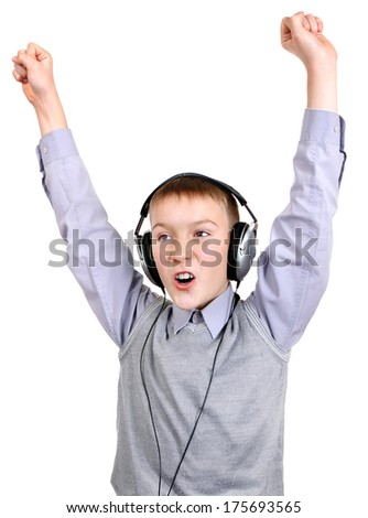 Boy in Headphones Isolated on the White Background - stock photo