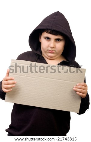 boy in hood clipping path included for easy isolation - stock photo