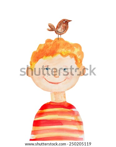 Boy in red striped t-shirt with bird. Watercolor illustration. Hand drawn - stock photo