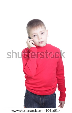Boy in red with mobile vertical shot isolated - stock photo