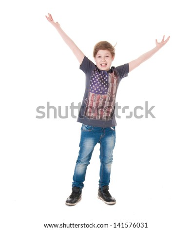 Boy in shirt with american flag over white background