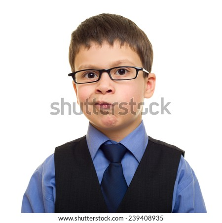 boy in suit on white - stock photo