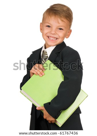 Boy in suit with book isolated on white background. Beautiful caucasian model. - stock photo