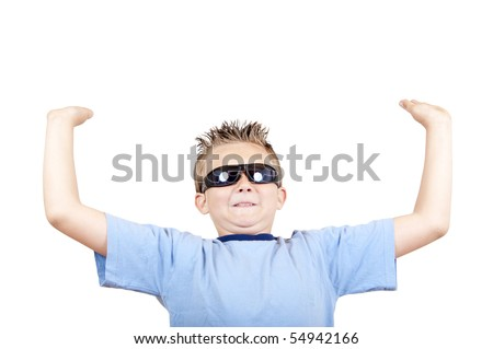 boy in sunglasses have hold out hands, isolated on white - stock photo