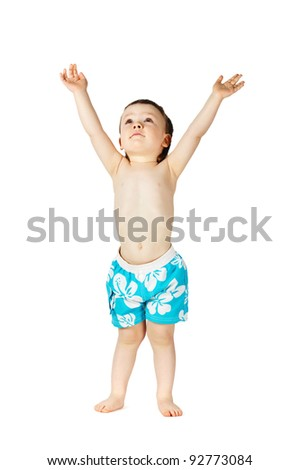 boy in swimming trunks - stock photo