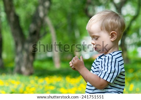 Boy in the field with dandelions - stock photo