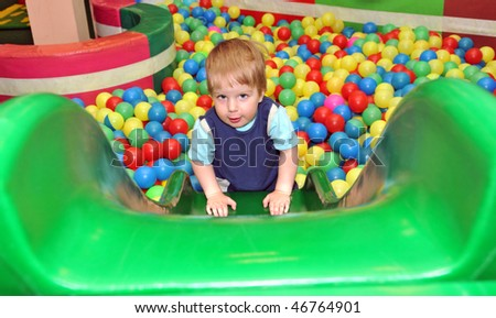 boy in the playground - stock photo