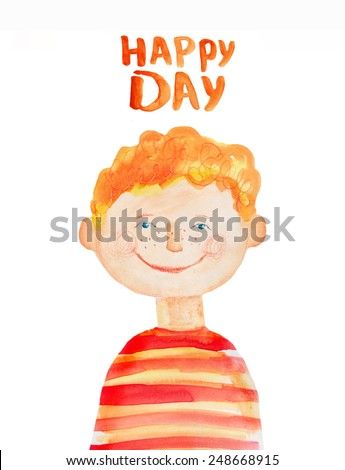 Boy in the red striped t-shirt. Watercolor illustration. Hand drawing. - stock photo