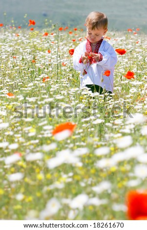 boy in traditional clothes in flowers - stock photo