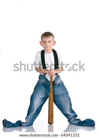 Boy is based on a baseball bat - stock photo