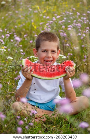 Boy is eating a watermelon - stock photo