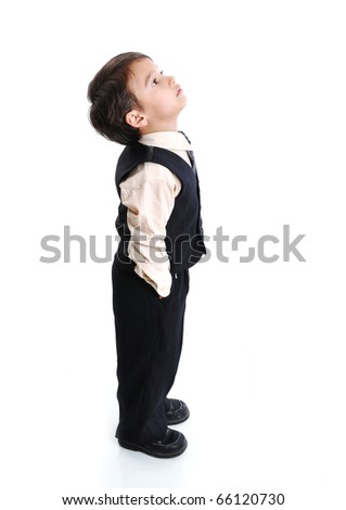Boy is looking up - stock photo