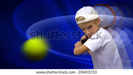 boy is playing tennis, discourages the ball - stock photo