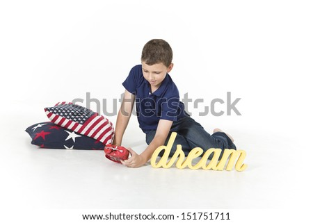 Boy is waking up in the morning - stock photo