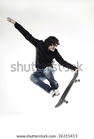 boy jump skateboard - stock photo