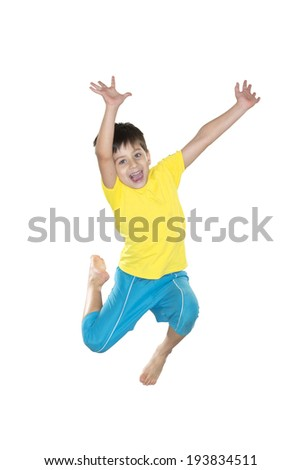 Boy jumping in yellow and blue