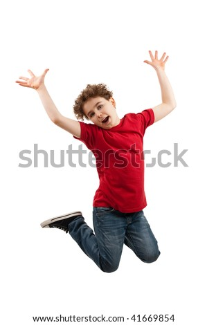 Boy jumping isolated on white background