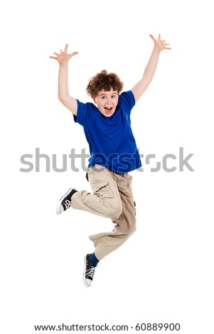 Boy jumping isolated on white background - stock photo