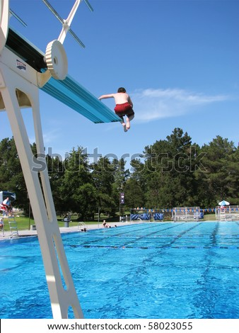 Public Swimming Pools With Diving Boards diving board stock images, royalty-free images & vectors